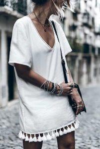 beyaz pon pon elbise
